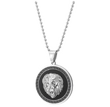 Lion Medallion Necklace African Lion Head Chain Simulated Diamond Judah Lion Leo Jewelry Hebrew Roaring Gold Silver Color Metal Alloy Lion Chain 30in.