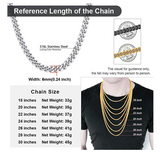 6mm Silver Tone Cuban Link Chain Hip Hop Rapper Jewelry 18 - 30in.