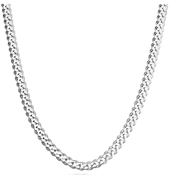 3mm 925 Sterling Silver Cuban Link Chain Hip Hop Rapper Jewelry 16 - 30in.