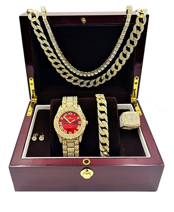 Red Face Watch Set Gold Color Simulated Diamond Earring Necklace Cuban Link Blue Bracelet Tennis Chain Ring Gift Bundle