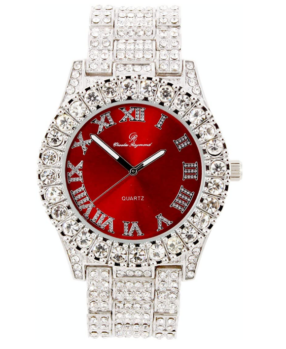 Red Face Silver Gold Color Simulated Diamond Watch Hip Hop Bust Down Bling Jewelry Roman Numeral Dail