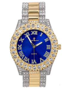 Two-Tone Blue Face Watch Color Simulated Diamond Watch Luxury Jewelry Hip Hop Watch Bust Down Roman Numerals Bling Blue Dial