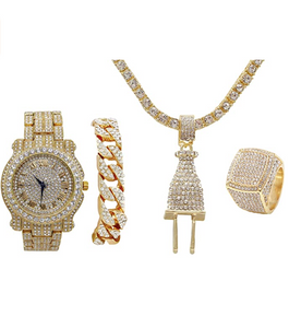 Plug Necklace Cuban Link Bracelet Tennis Chain Bundle Watch Hip Hop Ring Set Bling Gold Color Watch Simulated Diamond