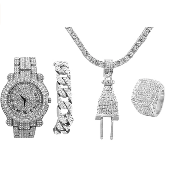 Silver Color Watch Plug Necklace Cuban Link Bracelet Simulated Diamond Tennis Chain Bundle Watch Hip Hop Ring Set Bling