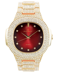 Gold Tone Luxury Watch Red Face Simulated Diamond Hip Hop Iced Out Watch Bust Down Blue Dial Bling Jewelry