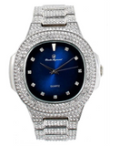 Silver Tone Luxury Watch Simulated Diamond Hip Hop Iced Out Watch Red Face Blue Dial Bust Down AP Silver Bling Diamond Jewelry