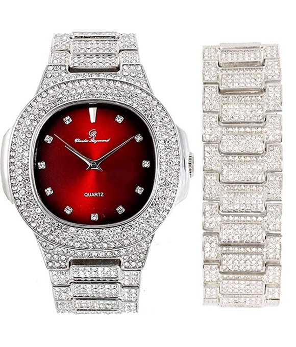 Simulated Diamonds Watch Set AP Bust Down Hip Hop Silver Gold Color Bracelet Bundle Iced Out Watch Bling Jewelry Gift