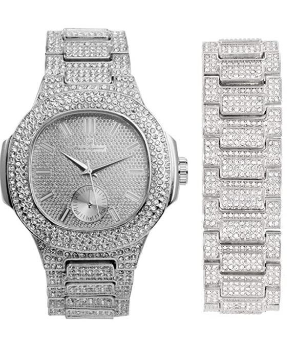Simulated Diamonds Watch Set Bust Down Hip Hop Silver Gold Color Bracelet Bundle Iced Out Watch Bling Jewelry Gift