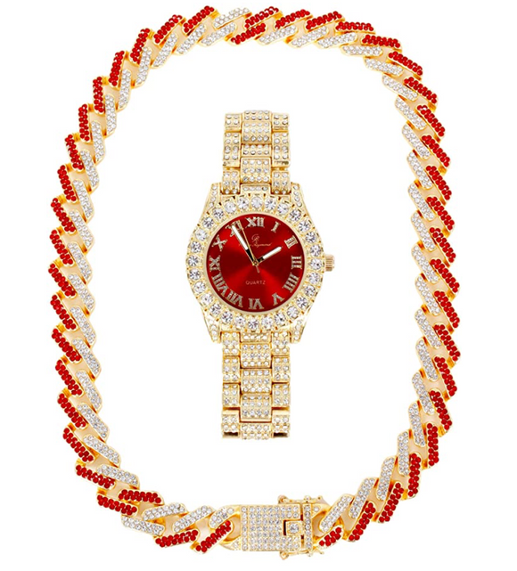 Red Face Watch Gold Color Simulated Diamond Cuban Link Chain Set Spike Necklace Bust Down Hip Hop Watch Bundle