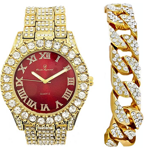 Red Face Watch Gold Color Simulated Diamond Watch Set Cuban Link Bracelet Hip Hop Blue Watch Bling Jewelry Gift Bundle