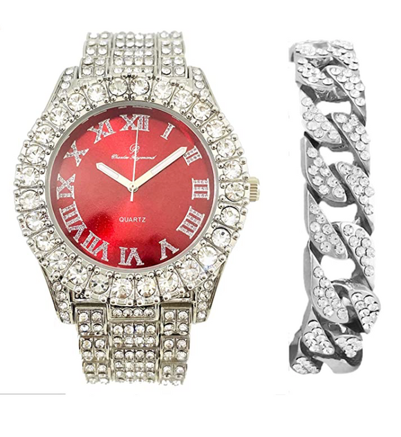 Silver Color Watch Simulated Diamond Red Face Watch Set Cuban Link Bracelet Hip Hop Watch Blue Bling Jewelry Gift Bundle
