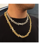 Barbwire Necklace Spike Cuban Link Chain Diamond Mens Hip Hop Rapper Barb Wire Twist Spiked Chain Gold Silver Metal Alloy 16 - 30in.