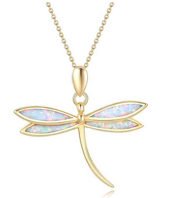 925 Sterling Silver Dragonfly Necklace Opal Simulated Dragonfly Jewelry Pendant Chain Birthday Gift Gold Tone 18in.