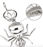 925 Sterling Silver Spider Pearl Cage Pendant Necklace Spider Halloween Jewelry Insect Bug Chain Birthday Gift 18in.
