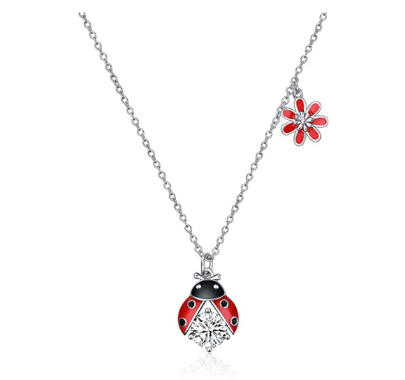 925 Sterling Silver Red Ladybug Pendant Simulated Diamond Flower Necklace Lady Bug Jewelry Insect Lucky Bug Chain Birthday Gift 20in.