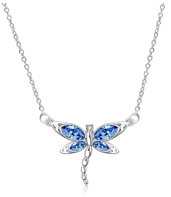 925 Sterling Silver Dragonfly Necklace Blue Simulated Diamond Dragonfly Jewelry Pendant Chain Birthday Gift 18in.
