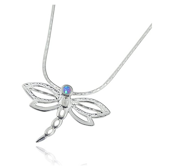 925 Sterling Silver Dragonfly Necklace Blue Opal Simulated Dragonfly Jewelry Pendant Chain Birthday Gift 22in.