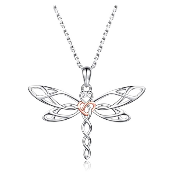 925 Sterling Silver Dragonfly Necklace Heart Dragonfly Jewelry Pendant Chain Birthday Gift Rose Gold Silver Color 22in.