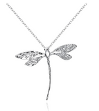 Silver Tone Dragonfly Necklace Dragonfly Jewelry Pendant Chain Birthday Gift 18in.