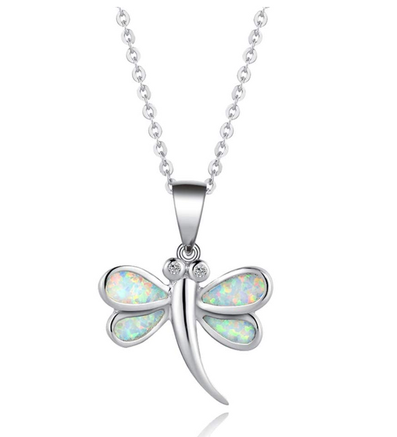 925 Sterling Silver Dragonfly Pendant Necklace Dragonfly Jewelry Chain Birthday Gift 18in.