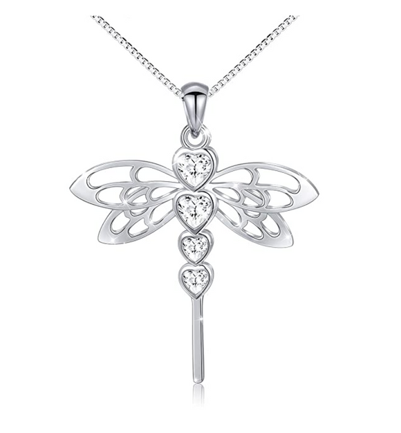 925 Sterling Silver Dragonfly Pendant Necklace Simulated Diamonds Heart Dragonfly Jewelry Chain Birthday Gift 18in.