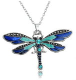 Blue Vintage Bohemian Dragonfly Pendant Necklace Dragonfly Jewelry Chain Birthday Gift 18in.