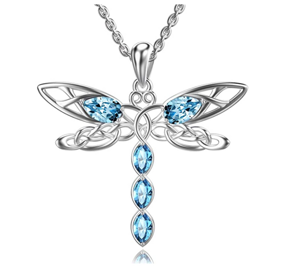 925 Sterling Silver Dragonfly Pendant Blue Simulated Diamond Necklace Dragonfly Jewelry Chain Birthday Gift 20in.