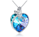 925 Sterling Silver Heart Dragonfly Pendant Blue Simulated Diamond Necklace Dragonfly Jewelry Chain Birthday Gift 20in.