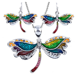 Dragonfly Pendant Necklace Dragonfly Earring Set Jewelry Chain Birthday Gift 20in.
