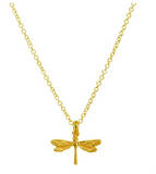 Gold Tone Dragonfly Pendant Necklace Dragonfly Jewelry Chain Birthday Gift 18in.