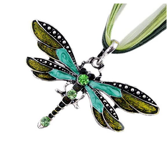 Green Dragonfly Pendant Necklace Enamel Dragonfly Red Bohemian Jewelry Purple Chain Birthday Gift 18in.