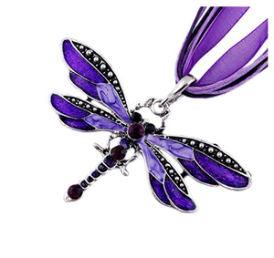 Purple Dragonfly Pendant Necklace Enamel Dragonfly Red Bohemian Jewelry Green Chain Birthday Gift 18in.