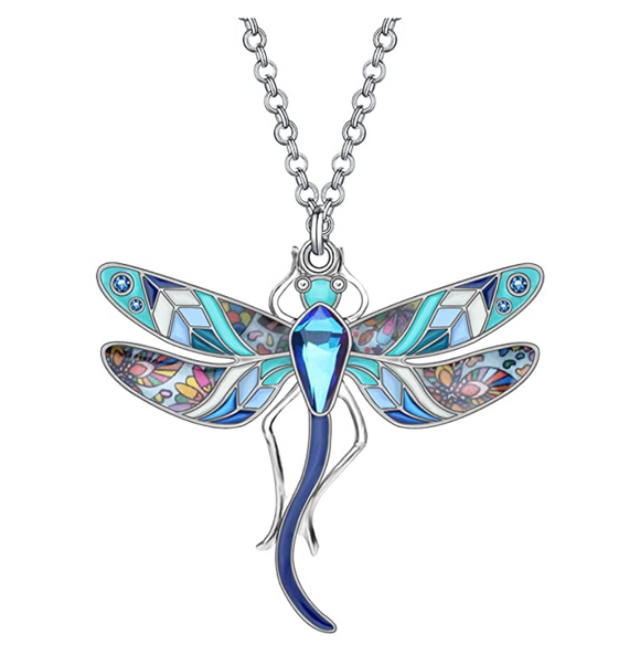 Blue Dragonfly Necklace Purple Dragonfly Jewelry Pendant Chain Birthday Gift Silver Color 18in.