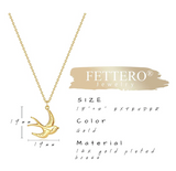 Gold Tone Dove Necklace Pendant Flying Dove Jewelry Bird Sitting Chain Birthday Gift 20in.