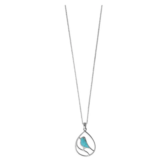 Blue Bird Necklace Round Circle Pendant Green Bird Jewelry Bird Sitting Chain Birthday Gift 925 Sterling Silver 16in.