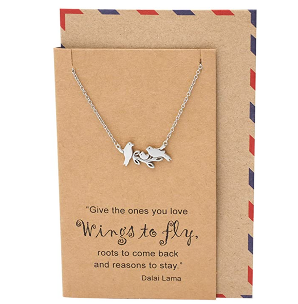 Baby Bird Family Necklace Pendant Bird Branch Sitting Jewelry Bird Chain Birthday Gift Silver Color 18in.