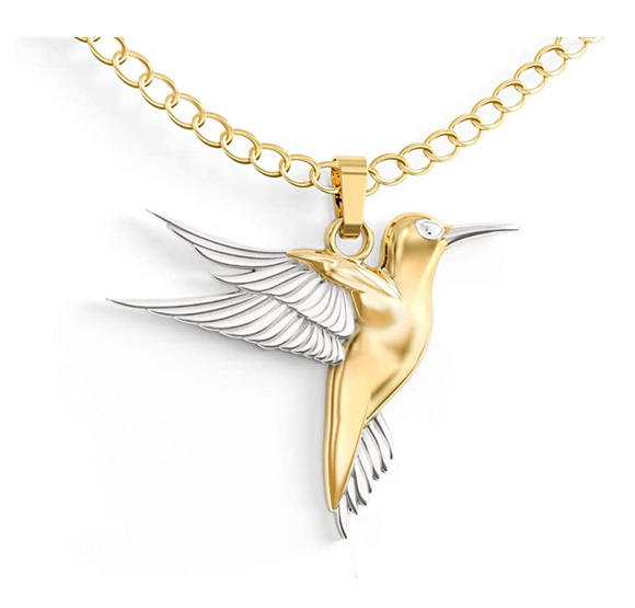Gold Tone Hummingbird Necklace Pendant Hummingbird Jewelry Bird Chain Birthday Gift 18in.