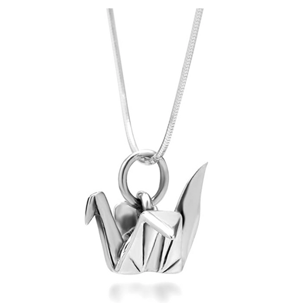 Origami Crane Necklace Jewelry Crane Bird Chain Folded Paper Crane Pendant Birthday Gift 925 Sterling Silver 18in.