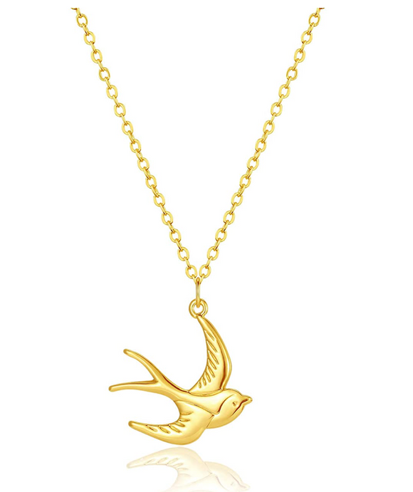 Small Dove Pendant Flying Dove Necklace Jewelry Bird Sitting Chain Birthday Gift 20in.