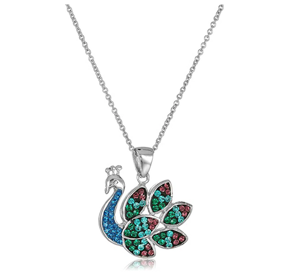 Peacock Pendant Necklace Peacock Feather Jewelry Bird Chain Birthday Gift Simulated Diamonds 18in.
