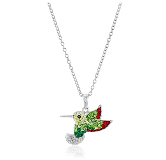 Green & Red Hummingbird Pendant Necklace Hummingbird Jewelry Bird Chain Birthday Gift Simulated Diamonds 18in.