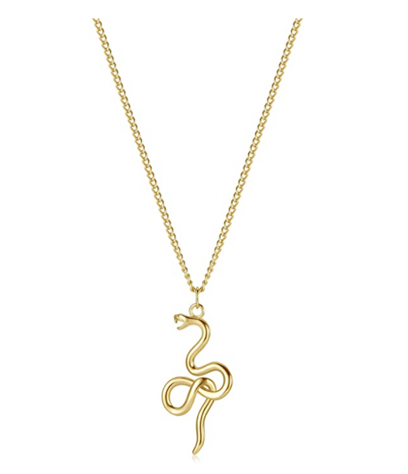 Gold Tone Snake Necklace Snake Jewelry Pendant Serpent Chain Birthday Gift 20in.