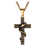 Black Snake Cross Necklace Snake Witch Jewelry Gothic Gold Silver Color Serpent Chain Birthday Gift 24in.