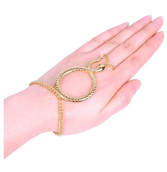 Snake Ring Bracelet Snake Jewelry Serpent Ring Birthday Gift Gold Tone Adjustable Bracelet