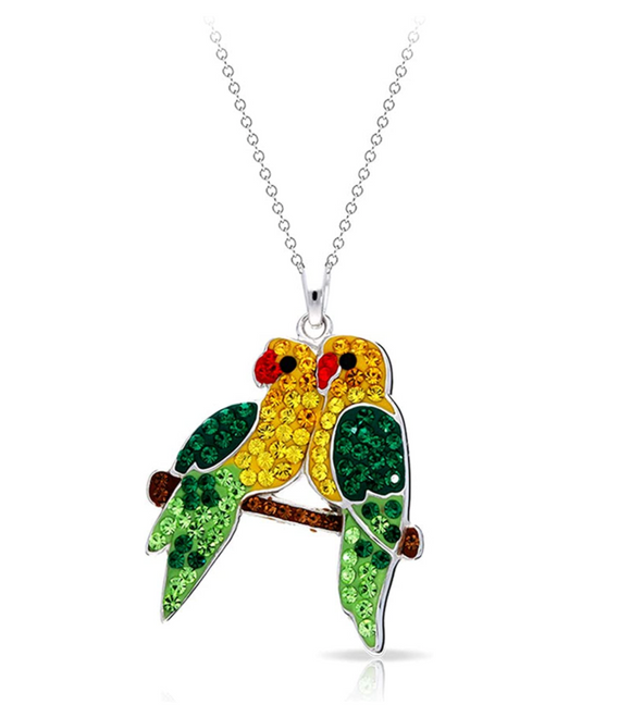 Crystal Scarlet Macaw Bird Parrot Bird Necklace Pendant Parrot Jewelry Bird Chain Birthday Gift 925 Sterling Silver 20in.
