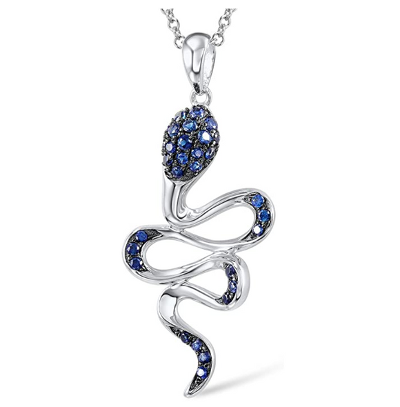 Blue Snake Pendant Necklace Snake Jewelry Simulated Diamond Serpent Chain Birthday Gift 925 Sterling Silver 18in.