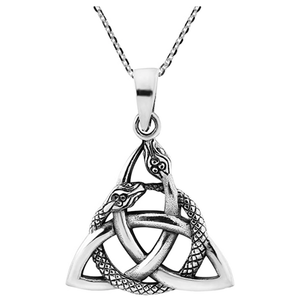 Triquetra Trinity Knot Snake Pendant Necklace Interwoven Snake Jewelry Serpent Chain Birthday Gift 925 Sterling Silver 18in.