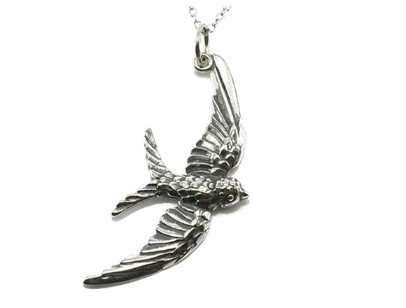 Flying Bird Necklace Pendant Bird Jewelry Bird Chain Birthday Gift 925 Sterling Silver 18in.