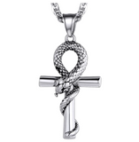Ankh Snake Pendant Necklace Interwoven Snake Cross Egyptian Jewelry African Serpent Chain Birthday Gift Silver Gold Tone 18in.