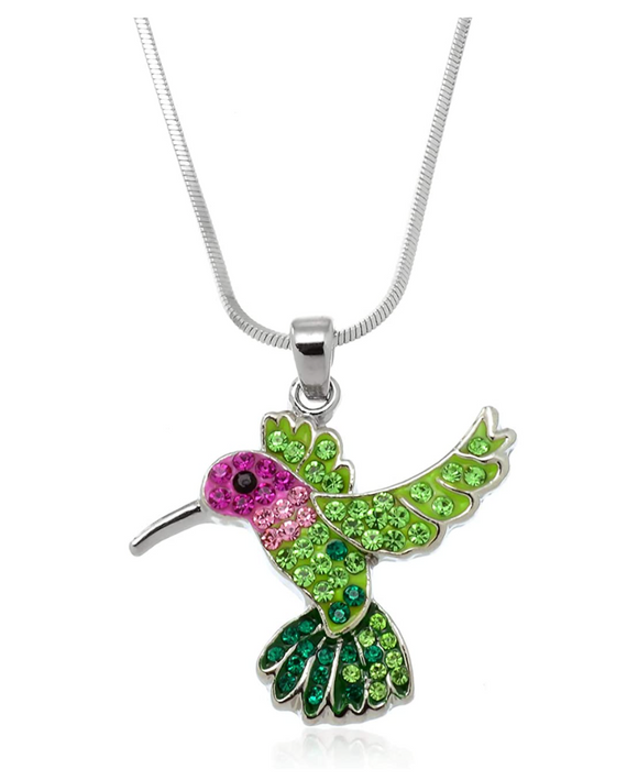 Pink & Green Hummingbird Necklace Pendant Hummingbird Jewelry Bird Chain Birthday Gift 18in.